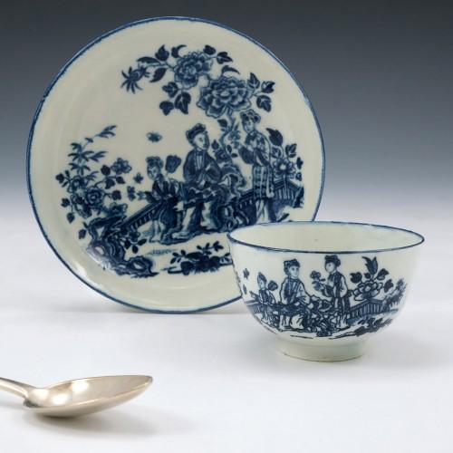 Worcester Three Ladies Pattern Tea Bowl & Saucer c1775