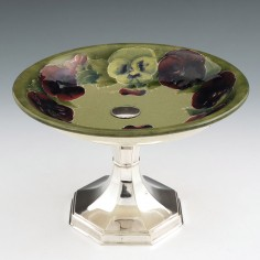 RESERVED RL A Moorcroft Pottery  Tazza with Silver Plated Stand