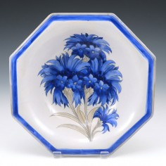 A William Moorcroft Saltglaze Blue Cornflower Dish 1926-28