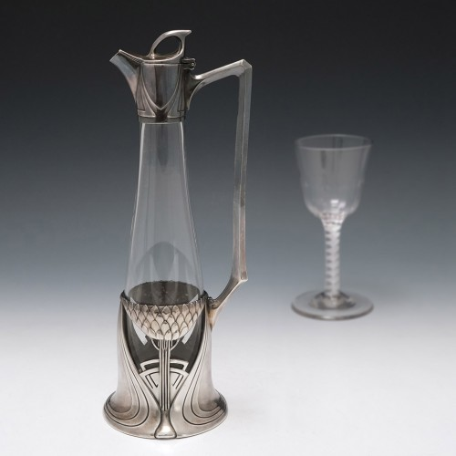 An Elegant Jugendstil Polished Pewter And Clear Glass Decanter c1905