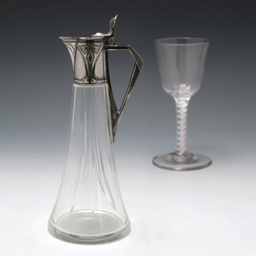 A WMF Jugendstil Pewter Mounted Clear Glass Liqueur Jug c1905