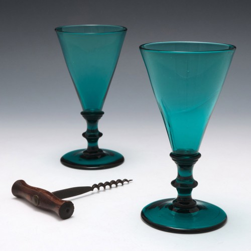 Pair Regency Coloured Wine Glasses c1820