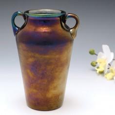 A Thomas Webb Iridescent Bronze Amphora Vase c1880