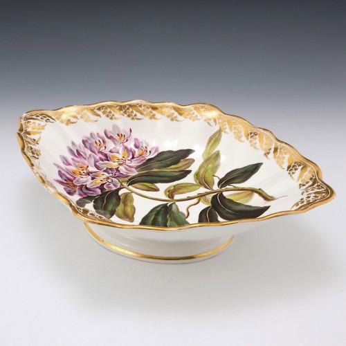 """Derby Porcelain Botanical Comport Pattern 115 """"Violet Coloured Rose Bay """" c1795"""