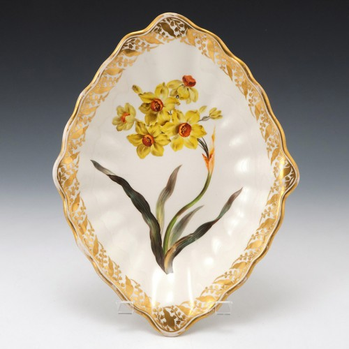 """A Derby Porcelain Botanical Dish Pattern 115 """"Narcissus of the Sun"""" c1795"""