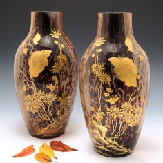 An Impressive pair of Art Nouveau Marmoreal and Gilt Glass Vases. c1895