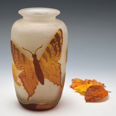 Three Colur Cameo Vase Of Butterflies c1905