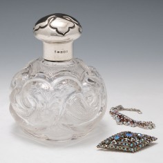 A Fine Rock Crystal Cut Silver Topped Perfume Bottle 1912