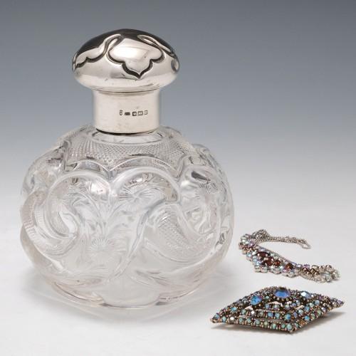 A Fine Rock Crystal Cut Silver Topped Perfume Bottle 1912
