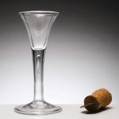 An 18th Century Drawn Trumpet Plain Stemmed Wine Glass c1745