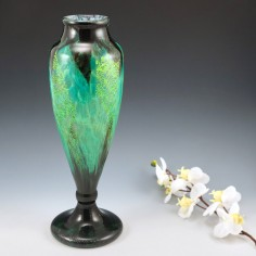Daum Nancy Glass Vase With Silver Inclusions 1925-30