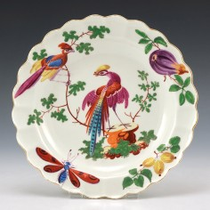 Giles Decorated Worcester Dessert Plate  1768-70