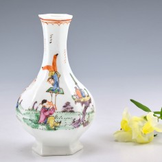 A Very Rare and Early Worcester Porcelain Bottle Vase 'The Acrobats' Pattern 1753-4