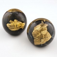 A Pair of Black and Gold Foil Jean Michel Operto Paperweights c1990