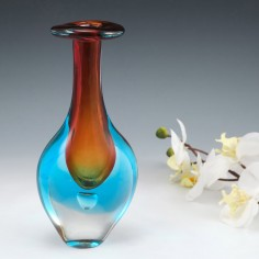 A Murano Sommerso Bottle Vase with Air Bubble c1980