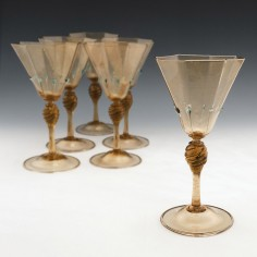A Set of Six Salviati Venetian Renaissance Revival Wine Glasses c1910