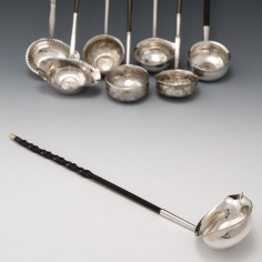 George III Silver Toddy Ladle With George II Silver Shilling