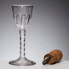 An Opaque Twist Wine Glass With Petal Moulded Bowl c1760