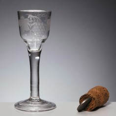 Engraved Georgian Plain Stem Wine Glass With Folded Foot c1750