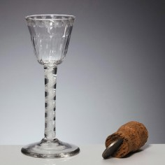 Engraved And Moulded Opaque Twist Stem Wine Glass c1775