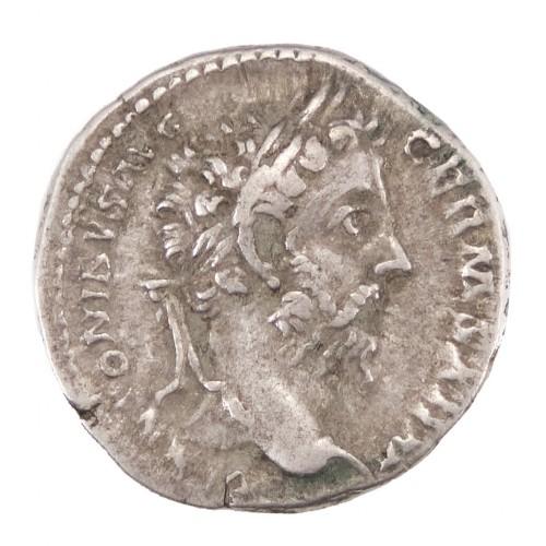 Emperor Marcus Aurelius Silver Denarius, Genius Rome  AD 175