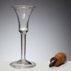 An Elegant Plain Stem Georgian Wine Glass c1745