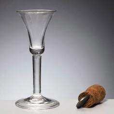Plain Stem Georgian Wine Glass With Folded Foot c1745