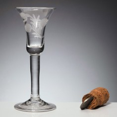 Later Engraved Georgian Wine Glass c1750