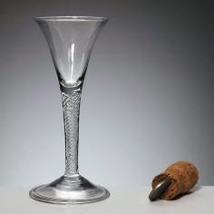 Georgian Air Twist stem Wine Glass With Folded Foot c1745