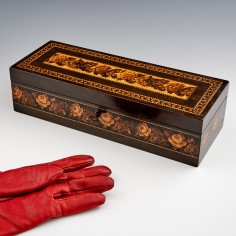 Tunbridge Ware Glovebox Depicting Roses and Dahlia Blooms