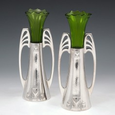 Pair WMF Marked Silver Plate Secessionist Vases c1906