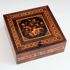 Thomas Barton Tunbridge Ware Handkerchief Box with Floral Lid c1890