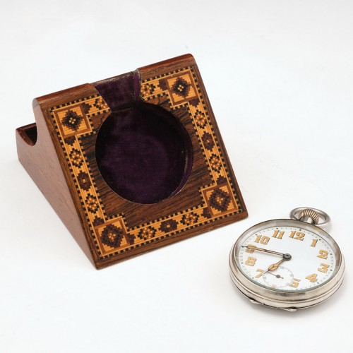 Tunbridge Ware Rosewood Floral Decorated  Fob Watch Stand c1870