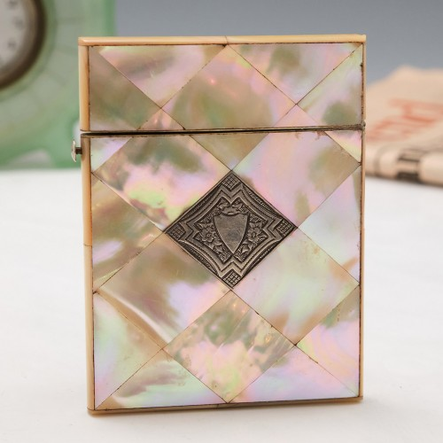 A Mother Of Pearl and Niello Silver Card Case c1880