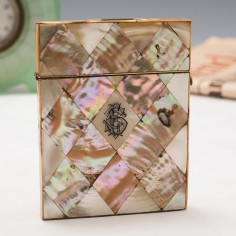 Mother of Pearl Birmingham Shellwork Card Case c1880
