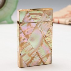 Mother of Pearl Birmingham Shellwork Visiting Card Case c1880