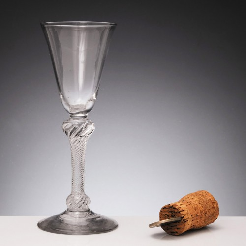 Double Knopped Air Twist Glass c1750