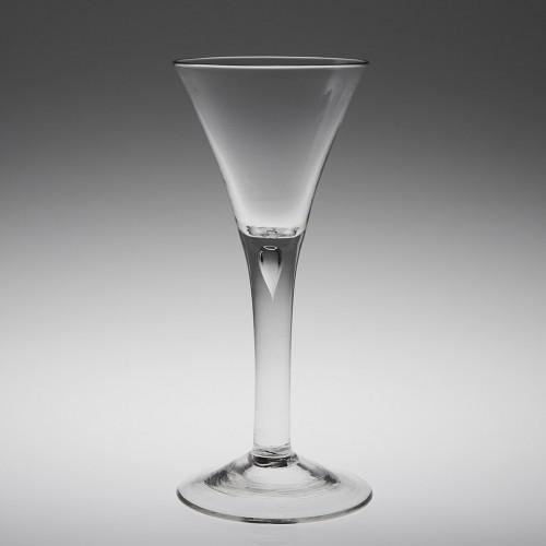 Drawn Trumpet Bowl Plain Stem 18th Century Wine Glass