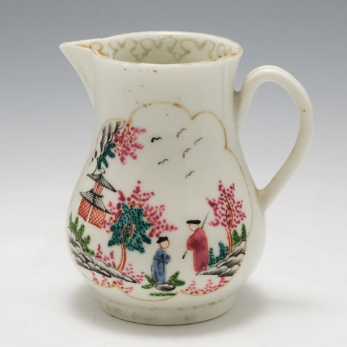 A Worcester Porcelain Sparrow Beak Jug In The Stag Hunt Pattern c1760