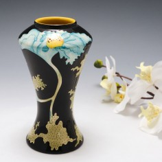 'Papaver' . A Black Ryden Waisted Pottery Vase Designed by Kerry Goodwin.