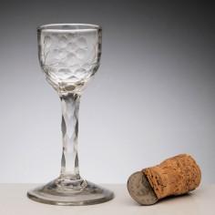 Jacobite Sympathy Facet Cut Stem Wine Glass c1770