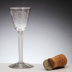 Jacobite Engraved Wine Glass c1750