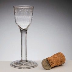 A Fine Engraved and Moulded Plain Stem Georgian Wine Glass c1745