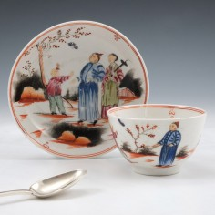 """New Hall Porcelain """"Boy and Butterfly"""" Pattern Teabowl and Saucer c1800"""