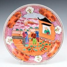 "New Hall ""Boy in the Window"" Pattern Dish c1810"