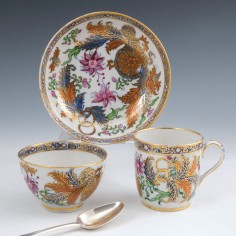 New Hall Porcelain Coffee Cup Tea Bowl and Saucer c1806