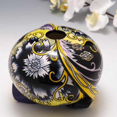 A Black Ryden Pottery Limited Edition Globe Vase In The Moonstone Pattern