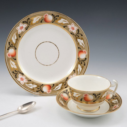 Swansea Porcelain London Shape Tea Cup and Saucer With Tea Plate 1815-20