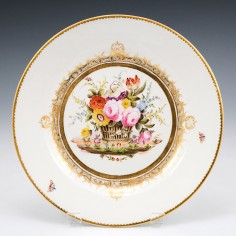 A London Decorated Swansea Porcelain Plate of Burdett Coutts type 1815-17