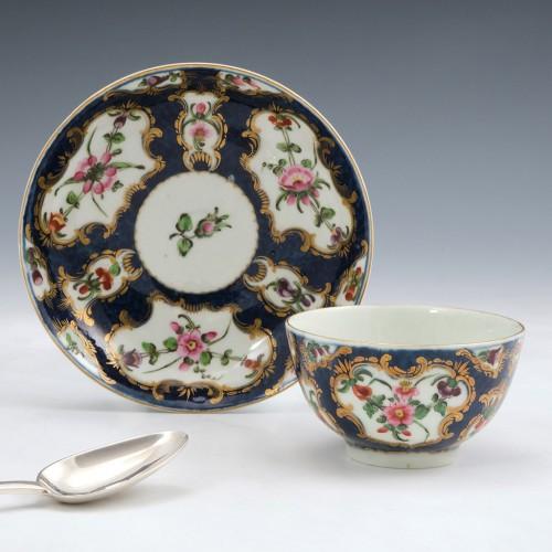 Worcester Porcelain Scale Blue Tea Bowl and Saucerc1770
